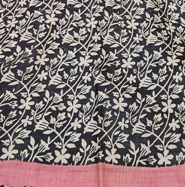 pink and black embroidered tussar saree3