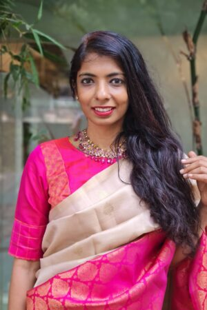 pink blouse with kolam patch