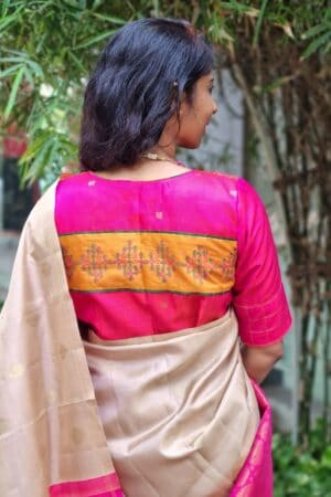 pink blouse with kolam patch1