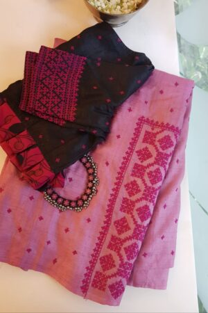 pink box kutch work saree