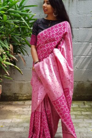 pink box kutch work saree1