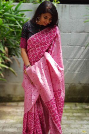 pink box kutch work saree4
