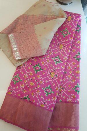 pink ikat print zari tussar saree