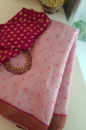 pink organza with kutch work and benaras pallu2