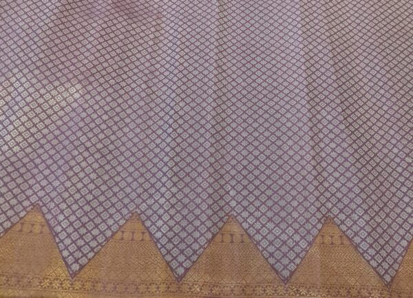 purple organza with kutch work and silk border1