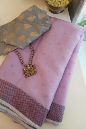 purple organza with kutch work ang silk border