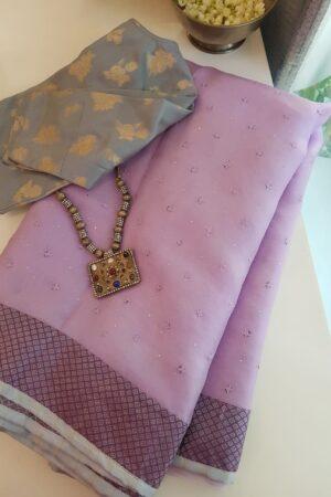 purple organza with kutch work ang silk border