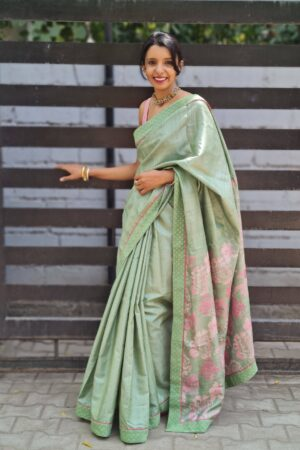 russian green tussar saree