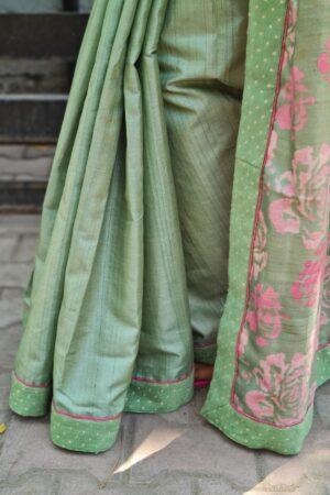 russian green tussar saree1