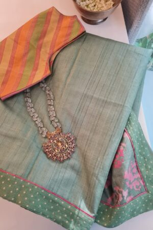 russian green tussar saree2