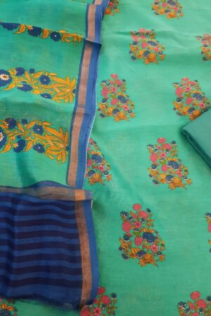 teal green chanderi