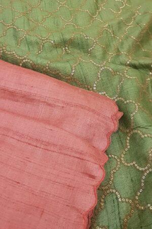 tomato pink with green pallu2