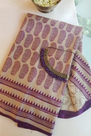 violet print and kutch work