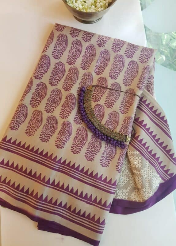violet print and kutch work