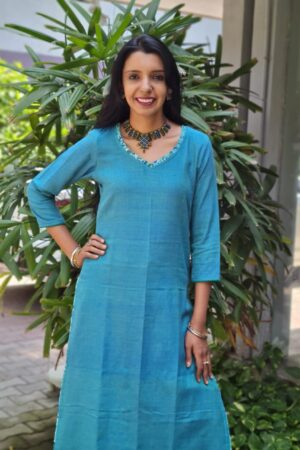 Blue cotton kurta1