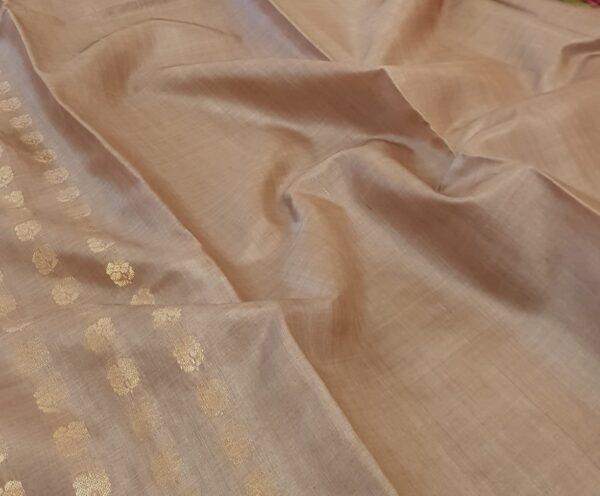 Dark beige tussar saree with floral buttons1