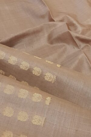 Dark beige tussar saree with floral buttons2