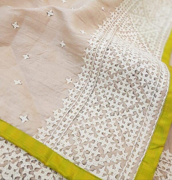 Golden yellow organza saree with tussar kutch work pallu2