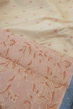 Peach organza saree with kutch work tussar pallu1