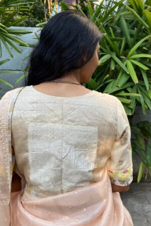 beige tussar blouse with embroidery