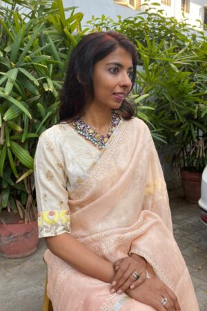 beige tussar blouse with embroidery1