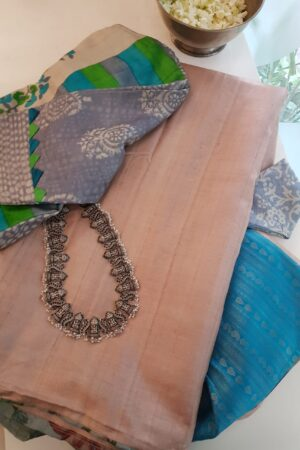 beige with blue silk pallu