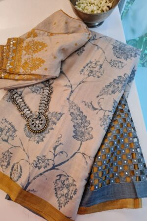 beige with grey leaves and mustard borderand pallu cutwork