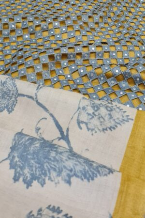 beige with grey leaves and mustard borderand pallu cutwork2