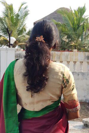 beige silk kalamkari blouse