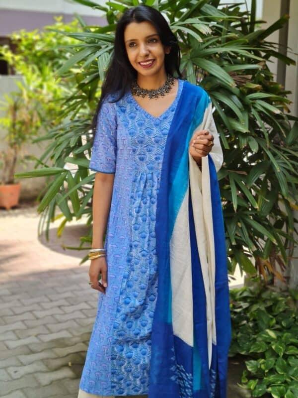 blue printed with ikat dupatta