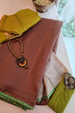 brown with beige pallu