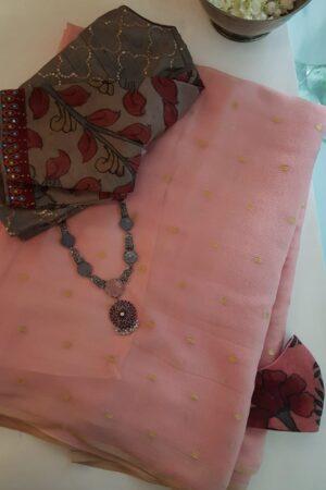 dusty pink chiffon saree with zari dots