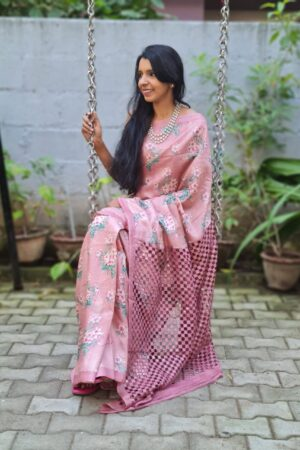 dusty pink tussar saree with cutwork