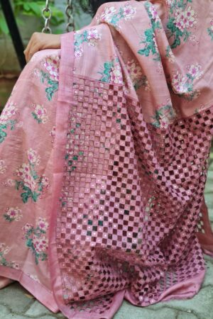 dusty pink tussar saree with cutwork1