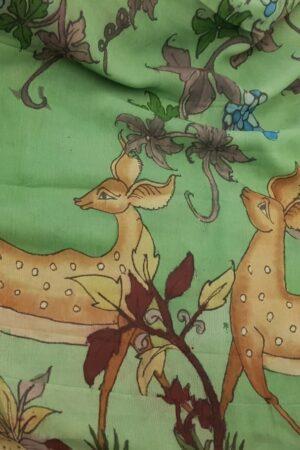 flora and fauna chiffon saree in green3