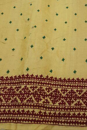 golden yellow organza saree with kutch work and block print5