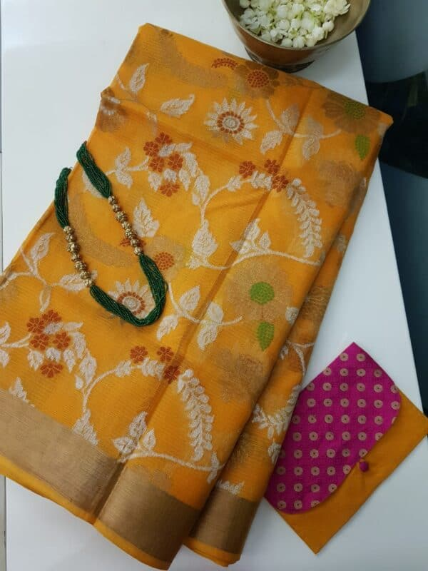 golden yellow with silver zari