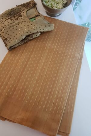 honey mustard tussar saree with floral buttons