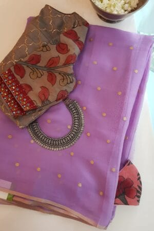 lavender chiffon saree with zari dots