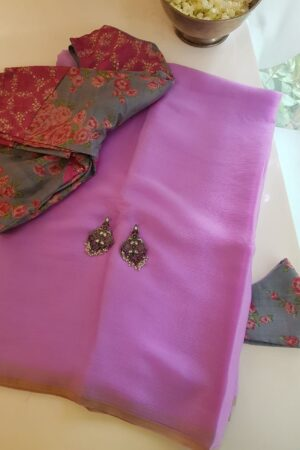 lilac plain chiffon saree