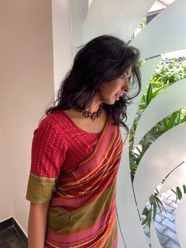 maroon kanchi cotton blouse with mango patch