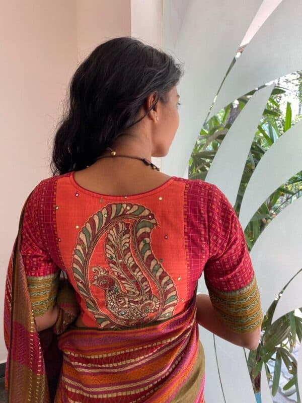 maroon kanchi cotton blouse with mango patch1
