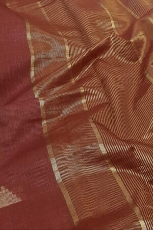 maroon tussar saree with temple motifs1