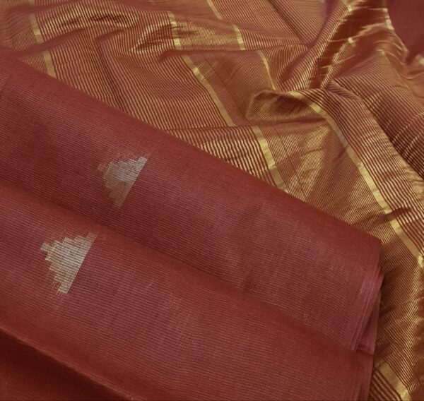 maroon tussar saree with temple motifs2