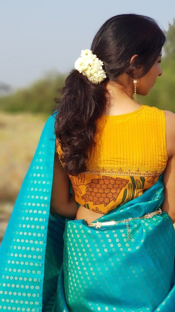 mustard crepe silk with kalamakri