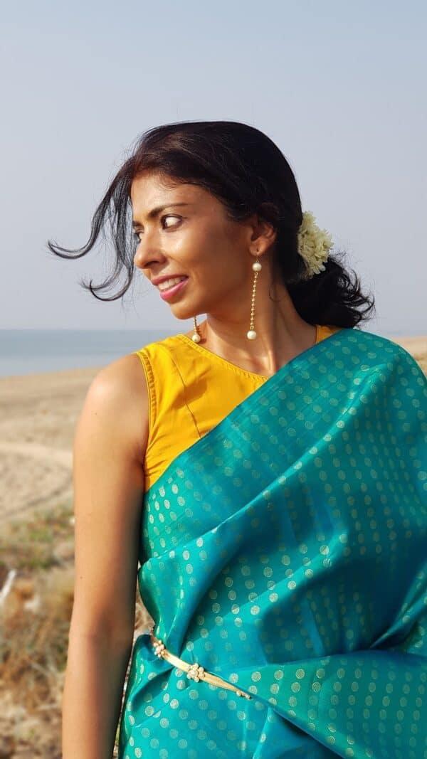 1 mustar crepe silk with kalamakri