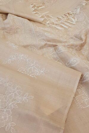 natural colour desi embroidered tussar saree1