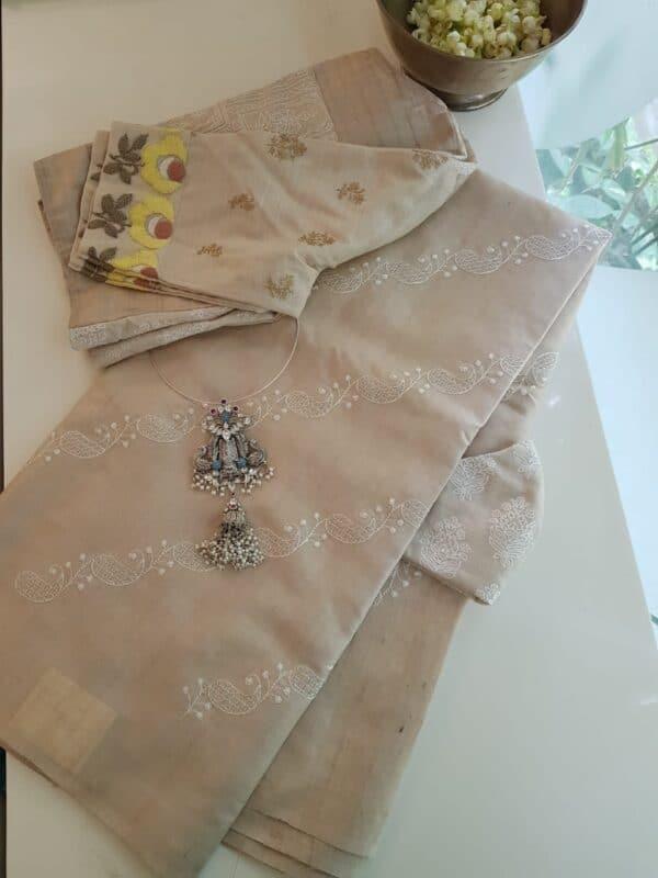 natural desi embroidered tussar saree