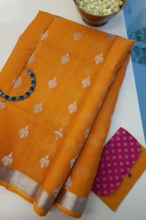 orange kota saree