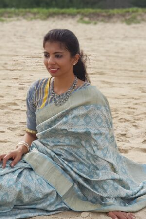 pale grey tussar saree4